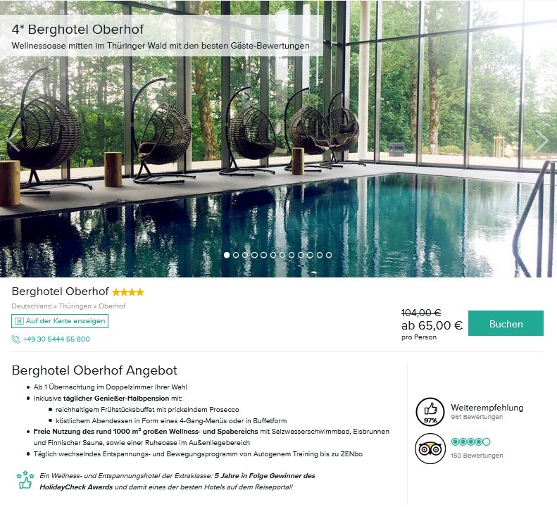 Berghotel Oberhof Deal Angebote günstig buchen Wellnesshotel im Thüringer Wald-min