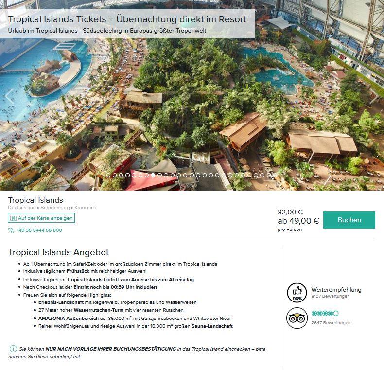 Tropical Islands Angebot günstig buchen Preis 49 Euro pro Person 1 Übernachtung im Safari-Zelt mit Frühstück und Eintritt-min