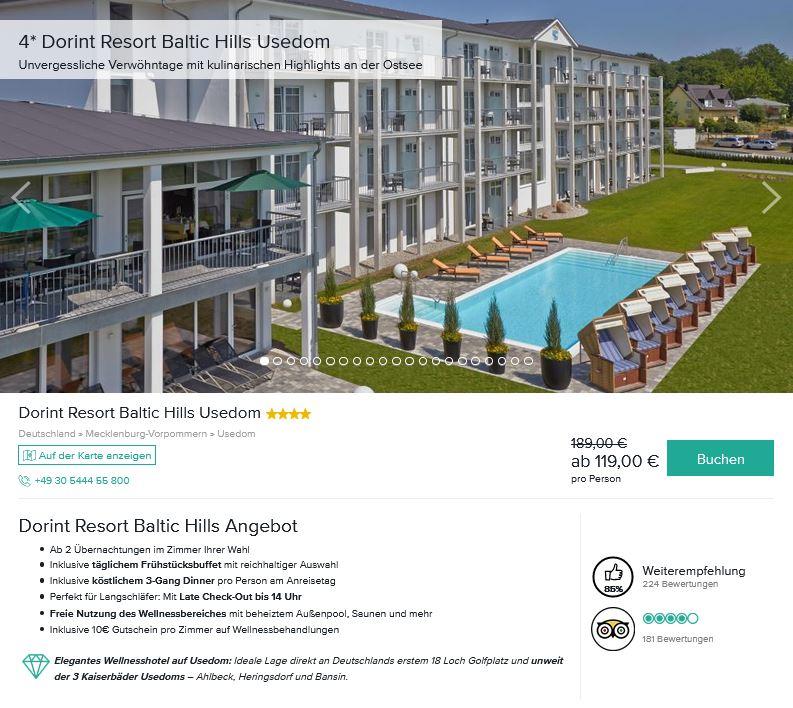 Dorint Resort Baltic Hills Usedom Spa Ostsee günstig buchen Angebot ab 119 Euro pro Person 2 Nächte-min